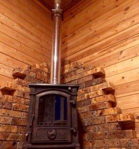 Внутренняя  отделка бань установка  печей каминов
