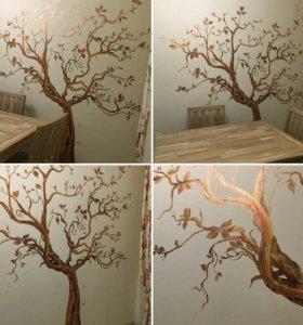 Роспись стен, граффити.