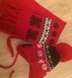 Шапка и шарф 35-40 см до года