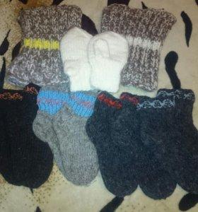 Новые шерстяные носочки варежки и шапочки
