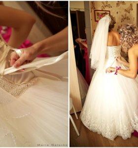 Шикарное свадебное платье ручной работы!