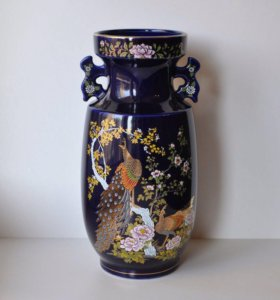 "Тёмно-синяя ваза из Японии ""Павлины"" (Винтаж)"