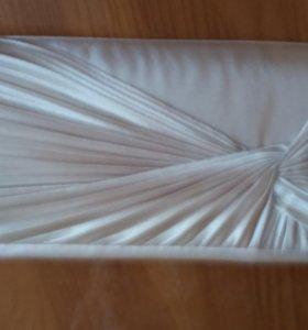 Клатч новый беж атлас, сумка белая