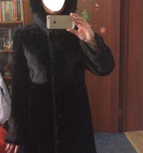 Шуба пальто мутон с норкой 46 размер