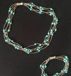 цепочка с браслетом серебряная