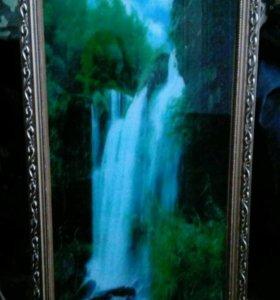 Картина водопад,работает от сети,течет, звуки птиц