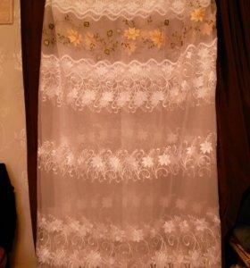 Тюль готовая новая с вышивкой