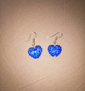 Серёжки синие сердечки