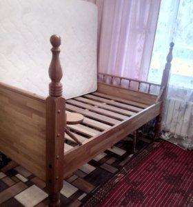 Заказная дубовая кровать с ортопедическим матрасом