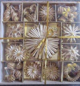 Набор новогодних украшений из соломы новый