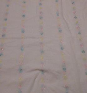 Материал с вышивкой цветной  белый