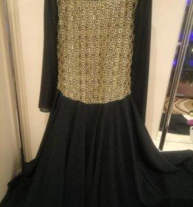 Платье  в пол   золото   рукав  черный  шифон