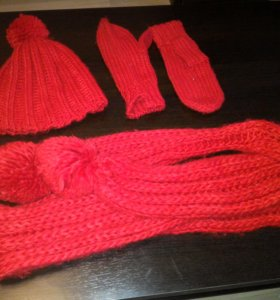 Комплект шапка,шарф,варежки