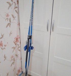 Лыжи с креплением+ палки
