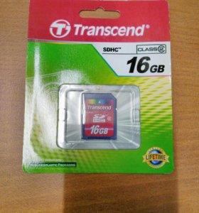 Флеш карта SDHC 16Gb class 2 Transend (TS16GSDHC2)