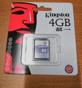 Флеш карта SDHC 4Gb Class4 Kingston SD4/4Gb