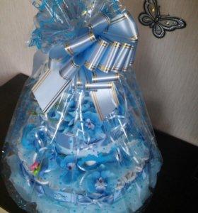 Торт из памперсов, поздравление с новорожденным