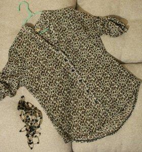 Блузка шифоновая новая леопард 44-46