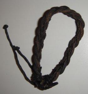 Браслет кожаный плетеный темно-коричневый