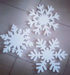 Снежинки 30 см из пенопласта для украшения на НГ