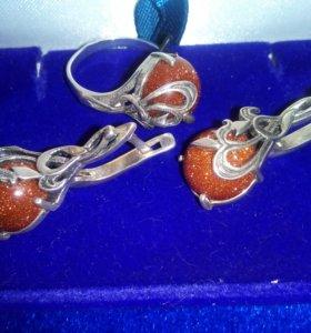 Комплект с авантюрином, серебро 925, кольцо р17,5