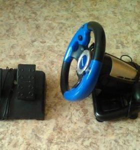 Руль с педалями для компьютера. usb