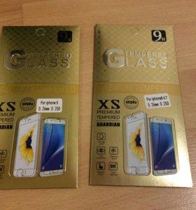 Защитные стекла на Iphone 5 и 6