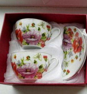 Новый фарфоровый подарочный чайный набор