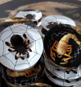 Фишки для нард с пауками и скорпионами. Оргстекло
