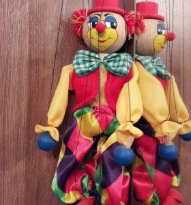 Кукла клоун марионетка.