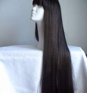 Парик с длинными черными волосами