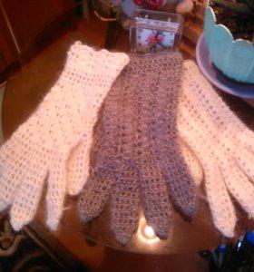 Пуховые ажурные перчатки.