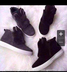 Ботинки зима зайки, размер 36, в размер. Черные
