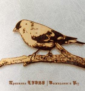 """Магнит-пирография """"Птичка на дереве"""""""