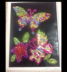 Картина из пайеток ручной работы(бабочки)