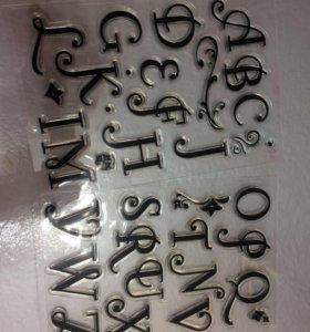 Алфавит силиконовый, штампы, англ