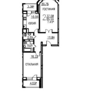 Продам 2х комнатную квартиру 70.5 кв.м.