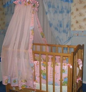Балдахин на детскую кроватку+держатель