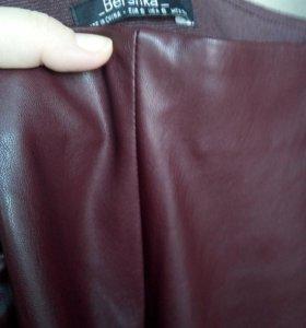 Новые кожаные брюки bershka