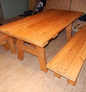 Стол и лавки для бани или беседки