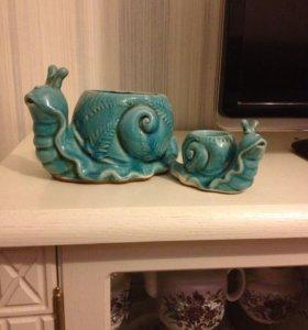 Кашпо керамика улиточки
