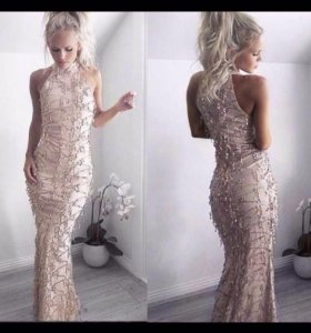 Платье макси золотисто-бежевое