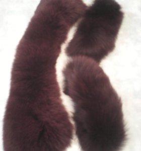 Воротник меховой натуральный и манжеты из Ламы
