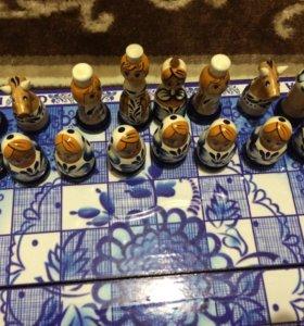 Продам новые шахматы гжель, 30*15 см.