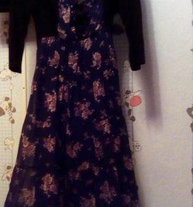 Платье шифон,верх трикотаж.длинное