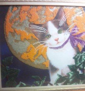 """Вышивка бисером """"Котёнок под луной"""""""