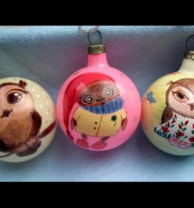 Новогодние елочные  игрушки шары Совушки