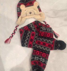 Тёплая шапочка и шарф