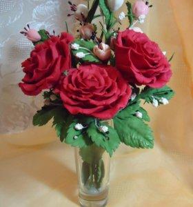 Розы из фоамирана в рюмке