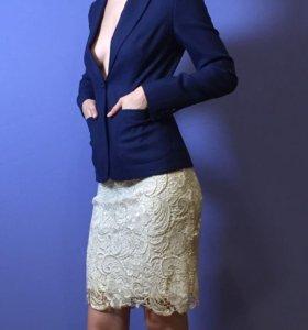 Кружевная юбка и синий жакет, 42р
